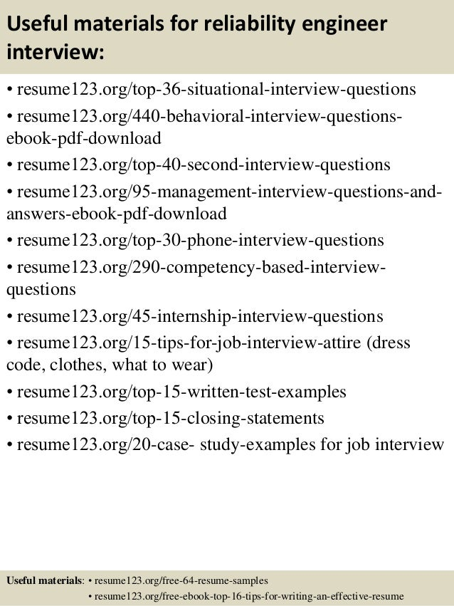 12 useful materials for reliability engineer - Reliability Engineer Sample Resume