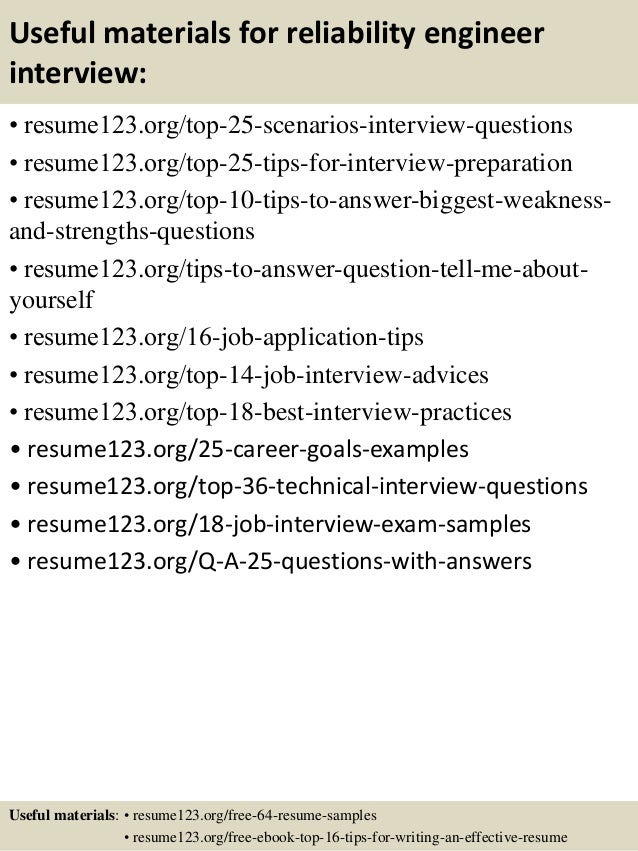 13 useful materials for reliability engineer - Reliability Engineer Sample Resume