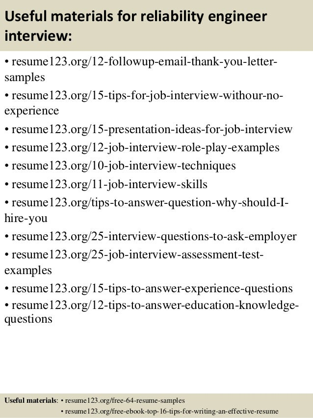 14 useful materials for reliability engineer - Reliability Engineer Sample Resume
