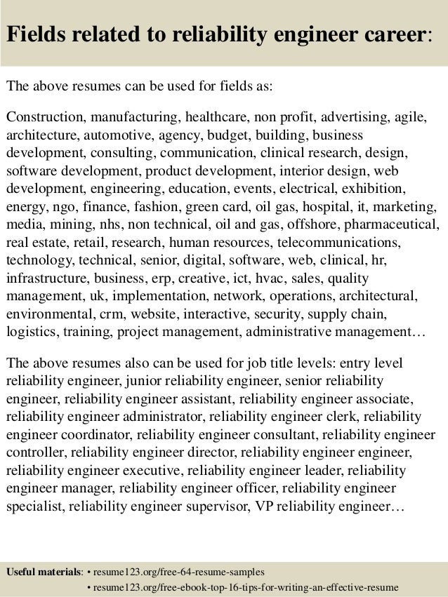 16 fields related to reliability engineer - Reliability Engineer Sample Resume