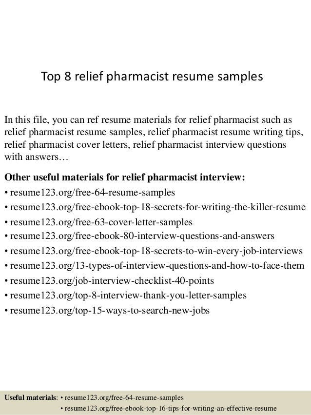 top 8 relief pharmacist resume samples in this file you can ref resume materials for - Sample Pharmacist Resume