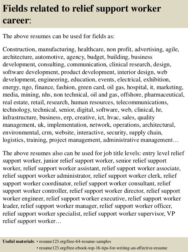 Top 8 relief support worker resume samples