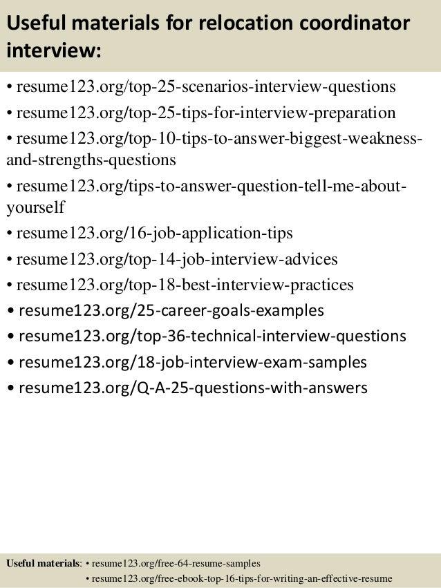 Top 8 relocation coordinator resume samples