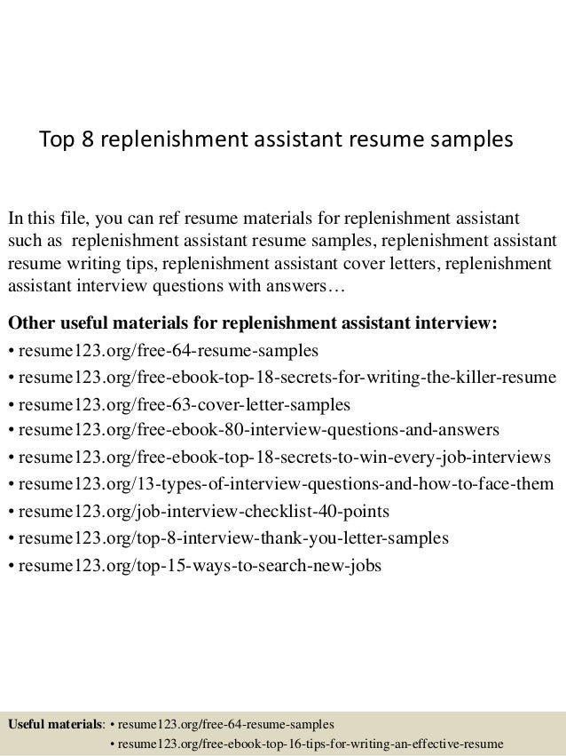 Top 8 Replenishment Assistant Resume Samples In This File, You Can Ref  Resume Materials For ...