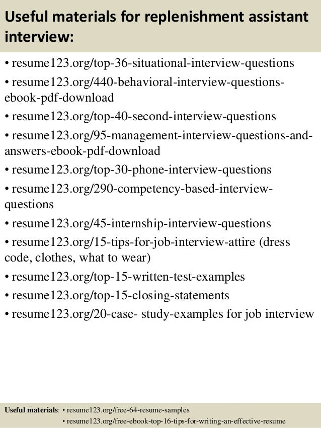 12 useful materials for replenishment - Replenishment Analyst Sample Resume