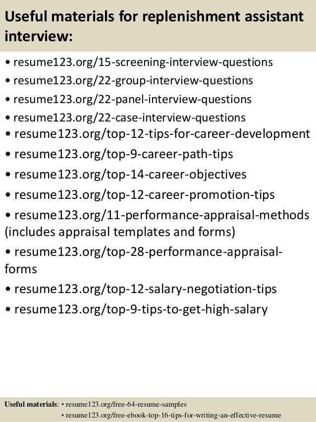 15 useful materials for replenishment - Replenishment Analyst Sample Resume