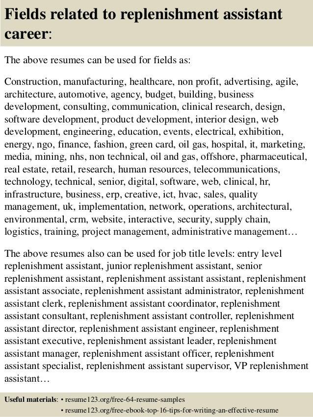 16 fields related to replenishment - Replenishment Analyst Sample Resume
