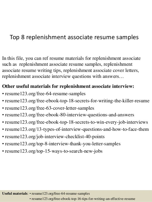 Top 8 replenishment associate resume samples