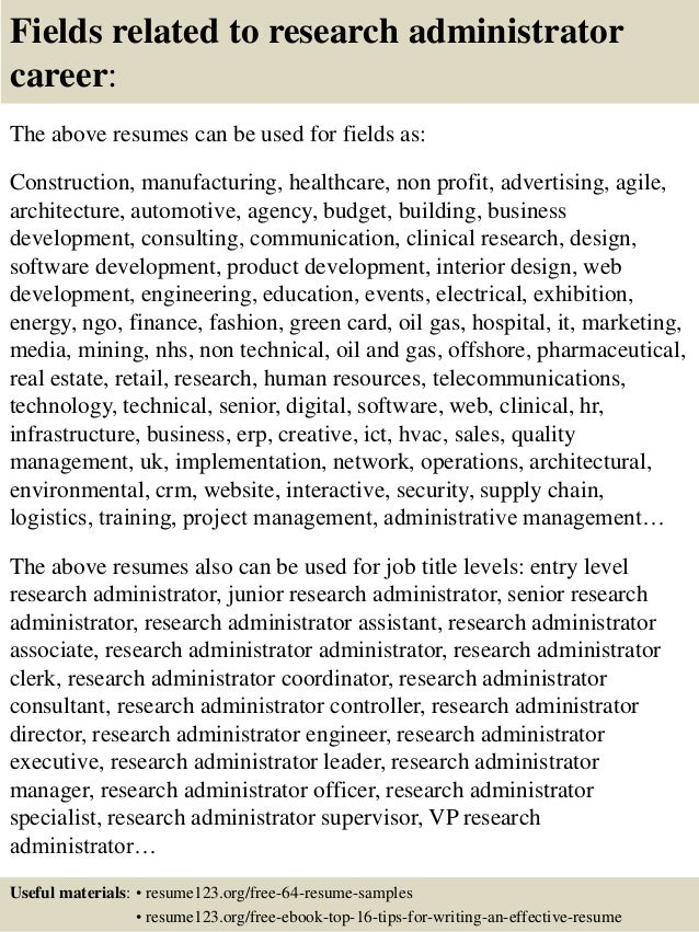 top 8 research administrator resume samples - Jboss Administration Sample Resume
