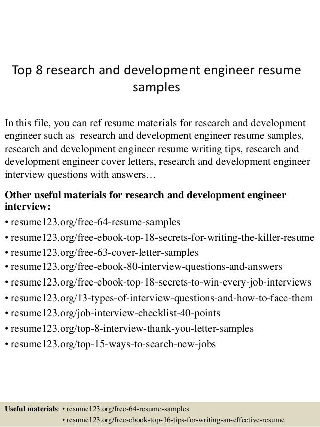 research and development resume examples
