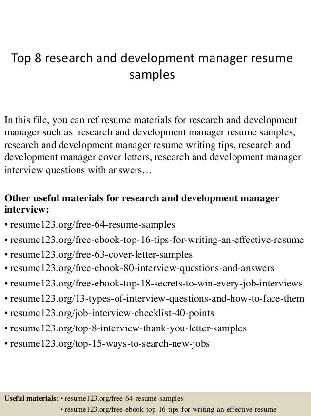 Top 8 Research And Development Manager Resume Samples In This File, You Can  Ref Resume ...