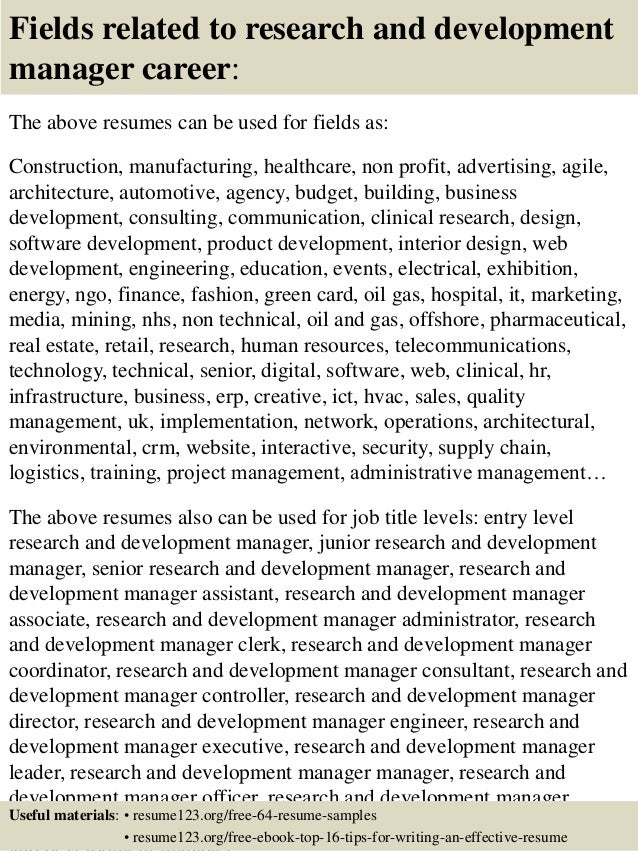 ... 16. Fields Related To Research And Development Manager Career: The  Above Resumes ...