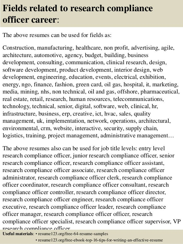 top 8 research compliance officer resume samples