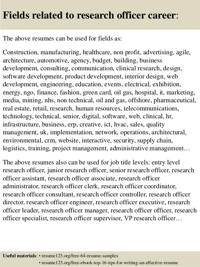 Top 8 research officer resume samples 16 fields related to research officer yelopaper Gallery