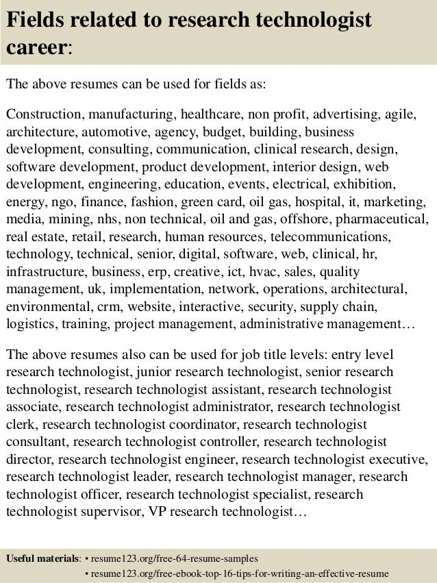 top 8 research technologist resume samples