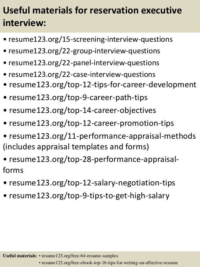 Top 8 Reservation Executive Resume Samples