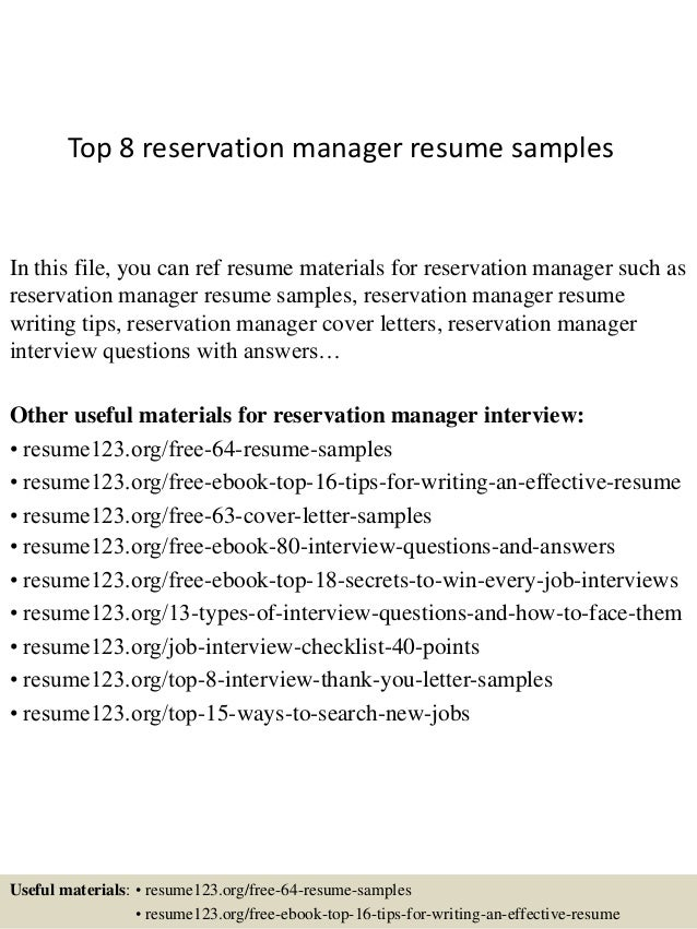 top 8 reservation manager resume samples