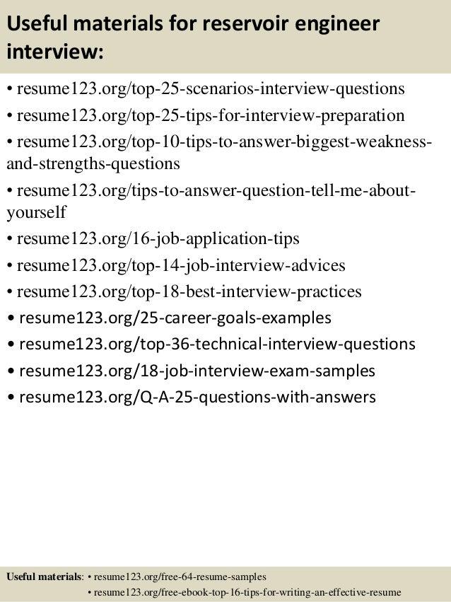 13 useful materials for reservoir engineer - Reservoir Engineer Sample Resume