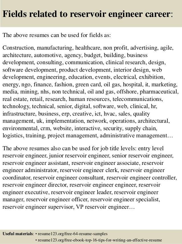16 fields related to reservoir engineer - Reservoir Engineer Sample Resume