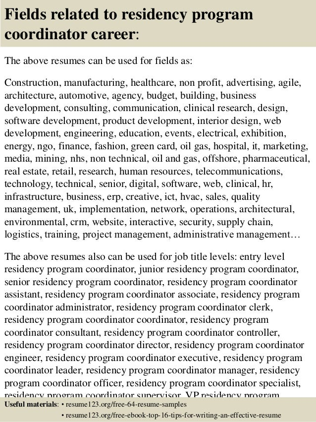 program coordinator resumes