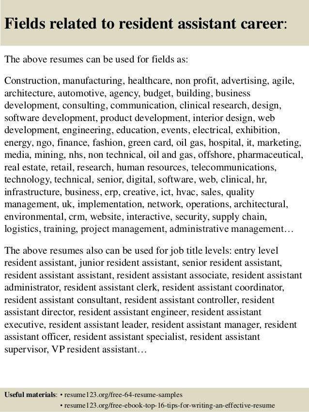 resident assistant job description resumes