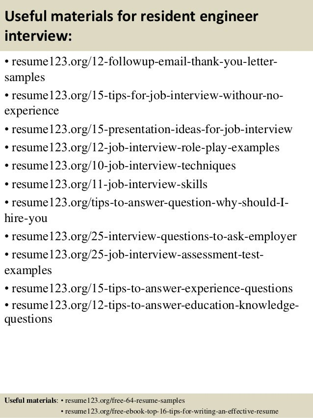 14 useful materials for resident engineer - Resident Engineer Sample Resume