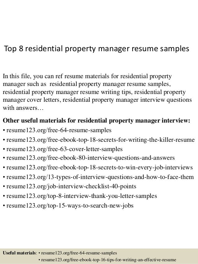Top 8 Residential Property Manager Resume Samples In This File, You Can Ref  Resume Materials ...  Resume For Property Manager