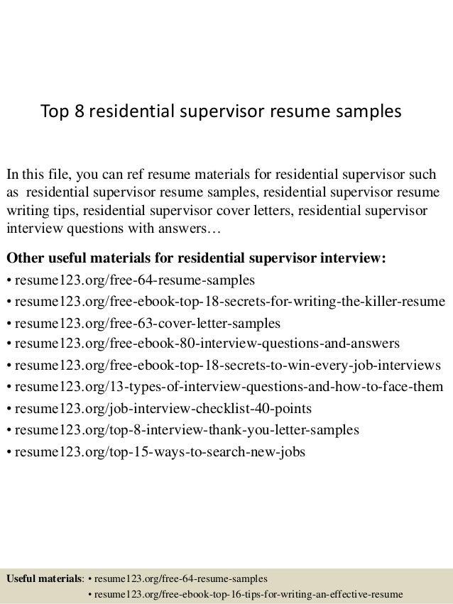 Residential supervisor resume