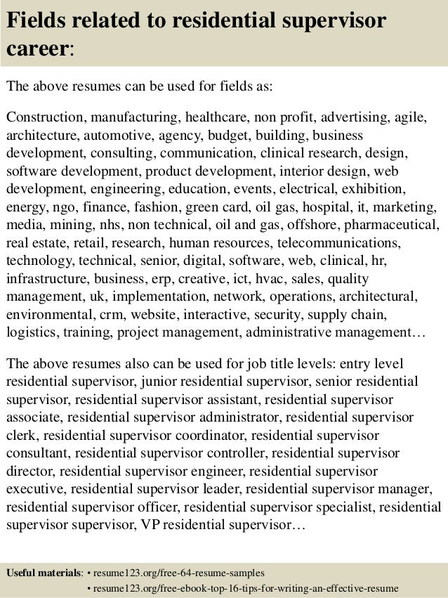 16 Fields Related To Residential Supervisor