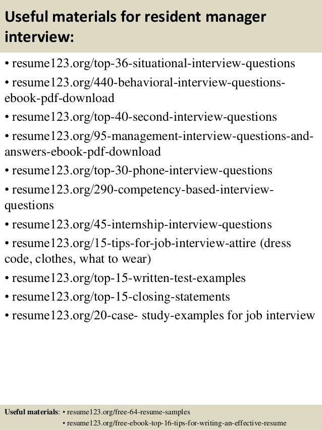 Top 8 resident manager resume samples 12 useful materials for resident manager yelopaper Images