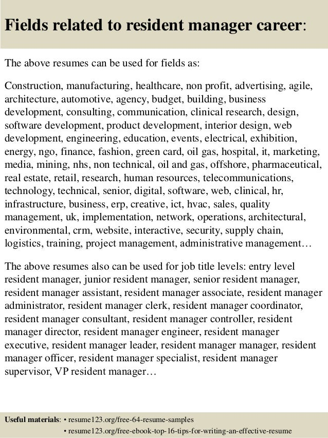 Top 8 resident manager resume samples 16 fields related to resident manager yelopaper Images