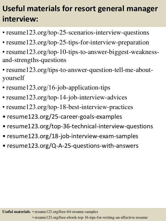 Top 8 resort general manager resume samples