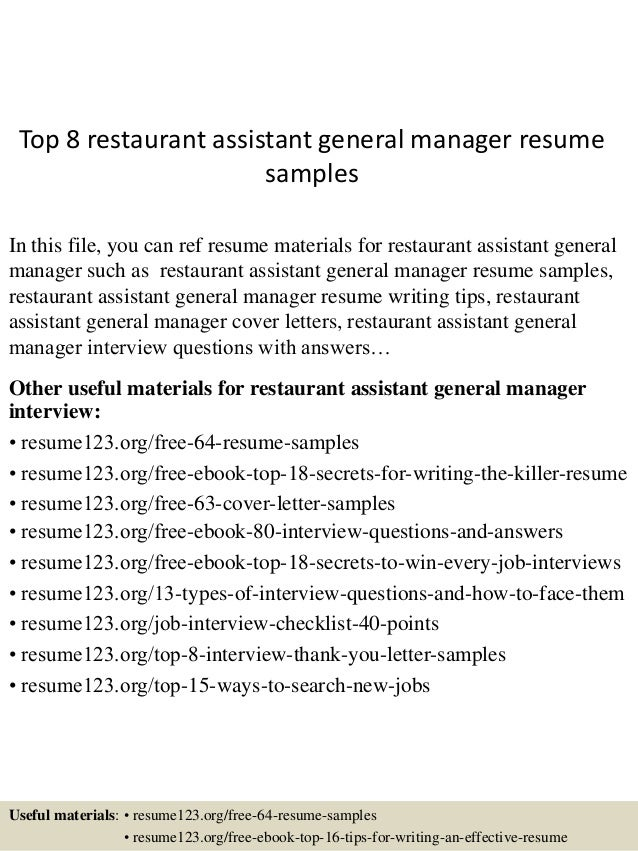 Top 8 Restaurant Assistant General Manager Resume Samples In This File, You  Can Ref Resume ...  Restaurant Assistant Manager Resume