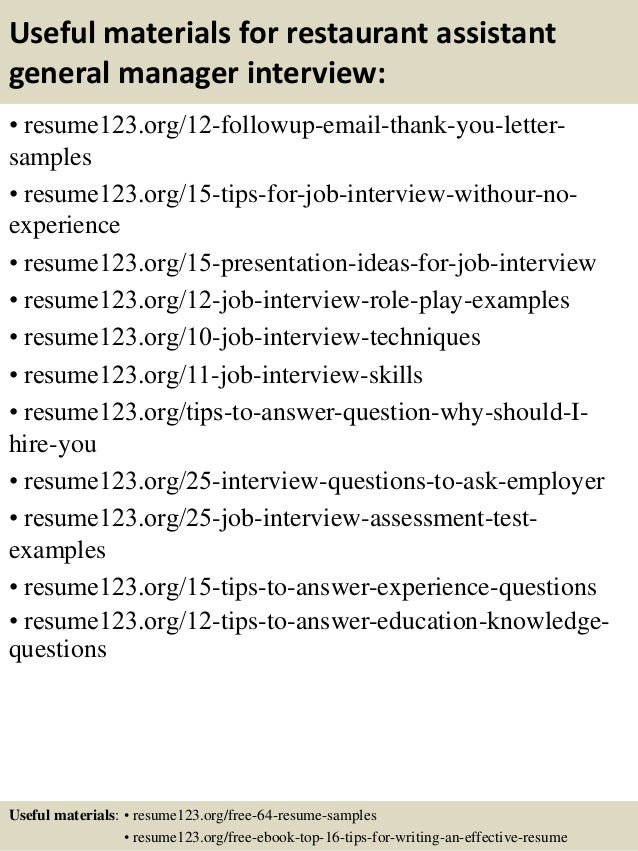 Top 8 Restaurant Assistant General Manager Resume Samples