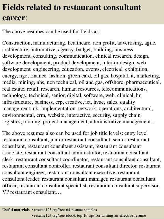 top 8 restaurant consultant resume samples