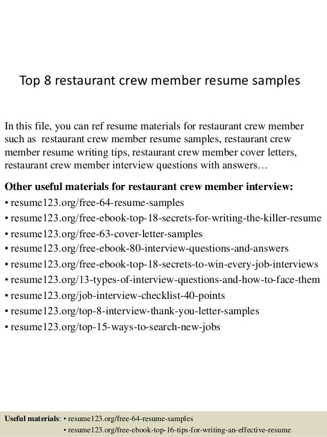 Top 8 restaurant crew member resume samples In this file, you can ref resume  materials ...