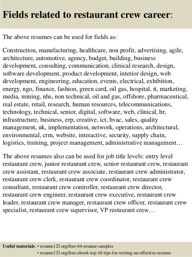 Top 8 restaurant crew resume samples