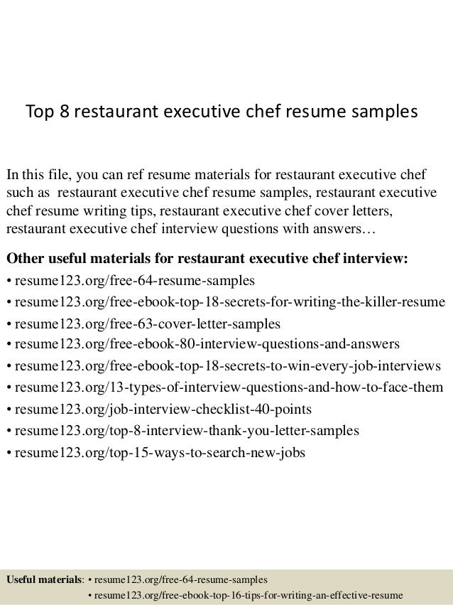 top 8 restaurant executive chef resume samples in this file you can ref resume materials