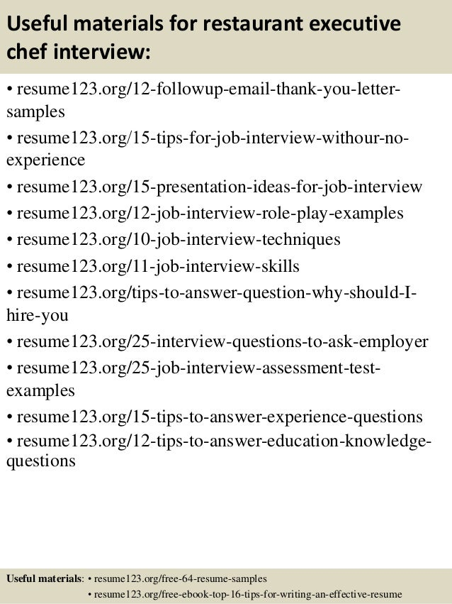 14 useful materials for restaurant executive chef - Executive Chef Sample Resume