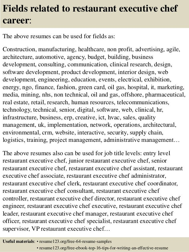 Top 8 restaurant executive chef resume samples