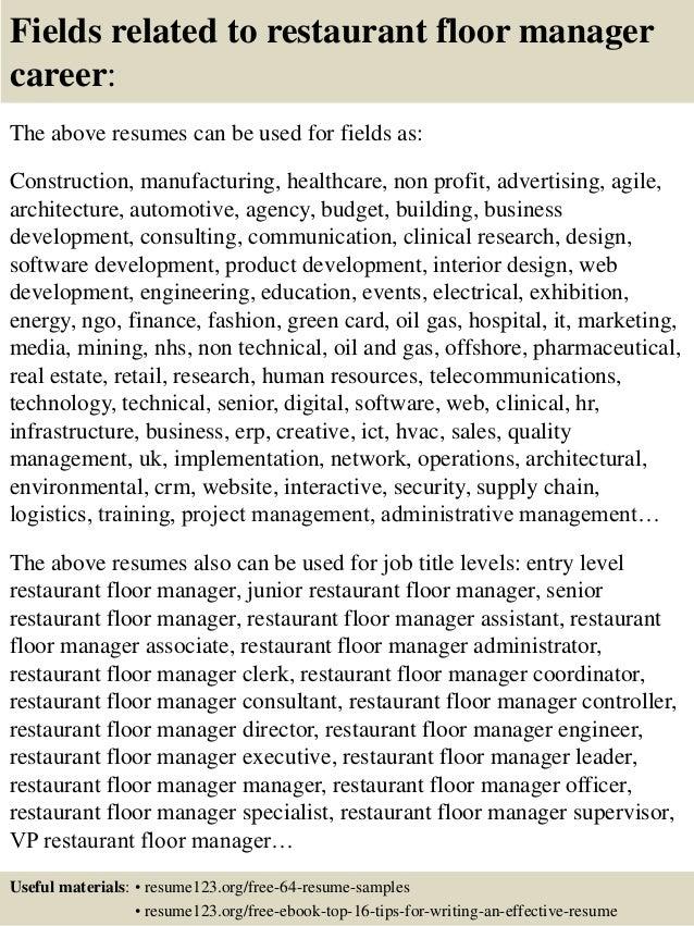 Top 8 restaurant floor manager resume samples