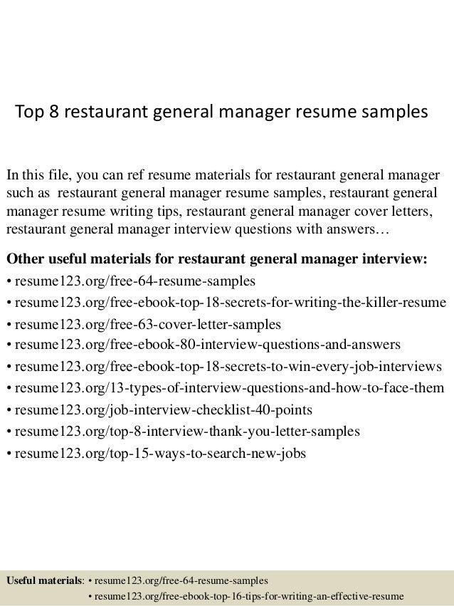 Sample Resume For Restaurant General Manager - Vosvete.Net