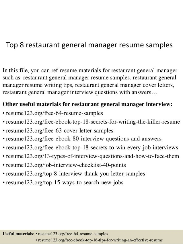 top 8 restaurant general manager resume samples