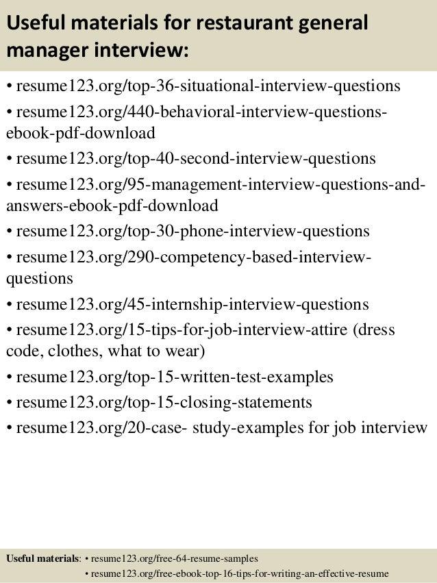 Top 8 restaurant general manager resume samples – Restaurant General Manager Job Description