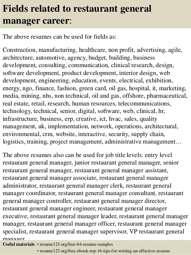 Top 8 Restaurant General Manager Resume Samples