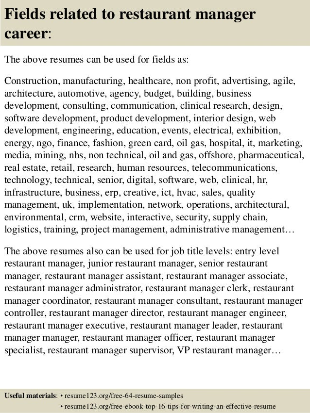 16 fields related to restaurant manager career the above resumes