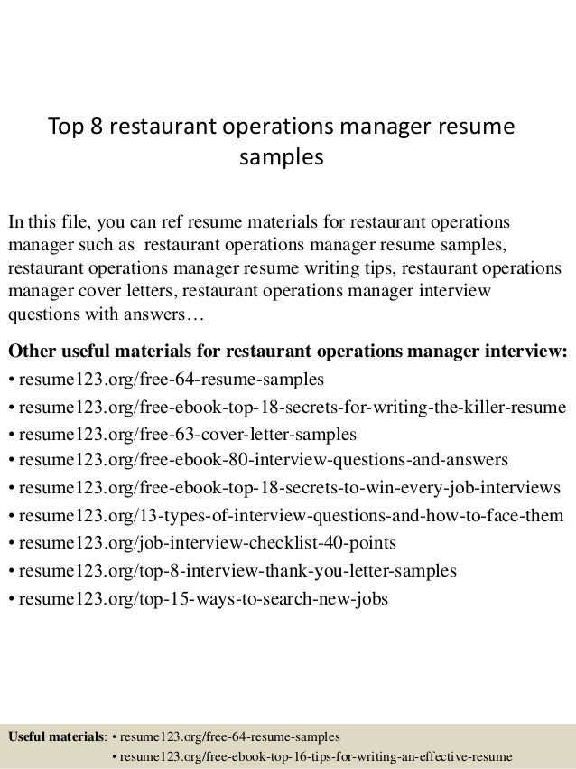 Top 8 Restaurant Operations Manager Resume Samples In This File, You Can  Ref Resume Materials ...  Operations Manager Resume
