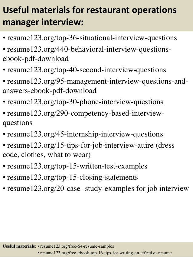Top 8 restaurant operations manager resume samples