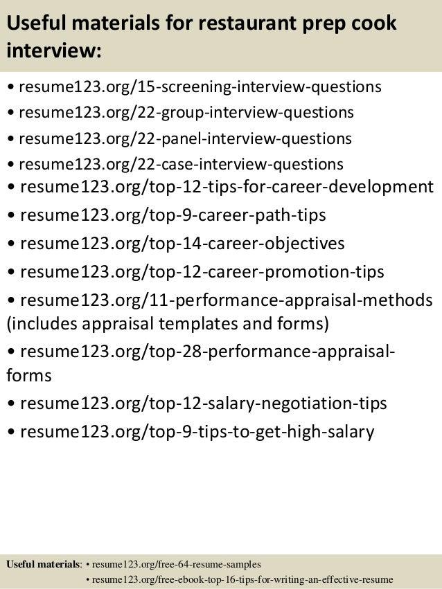 Top 8 restaurant prep cook resume samples