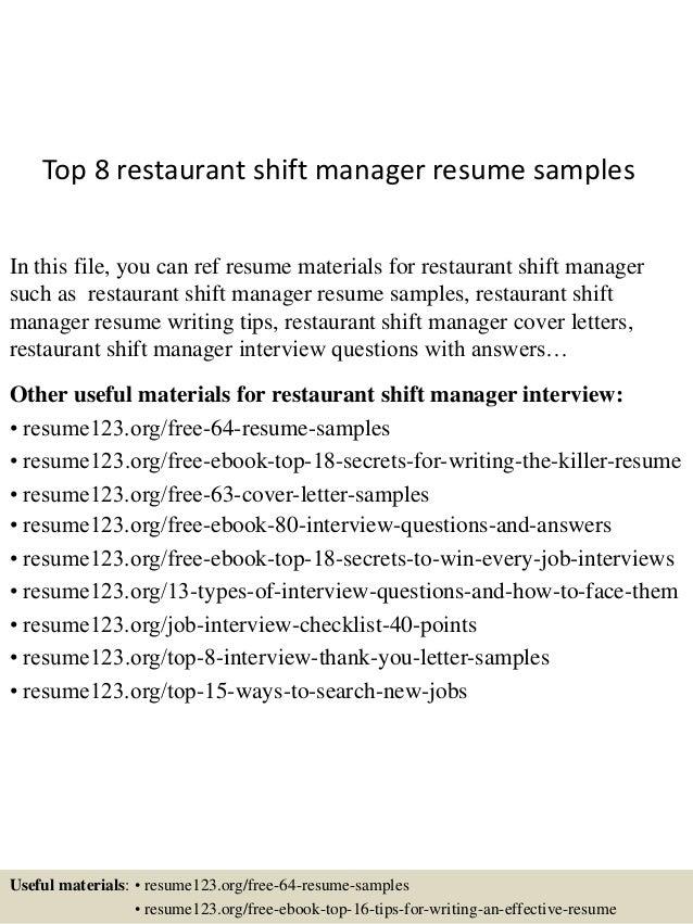 restaurant shift manager resumes